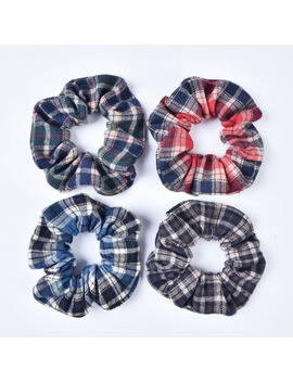 New Arrival Fashion Hair Scrunchies Hair Elastic Tie Ponytail Holder Hair Scrunchies For Girls And Women Check Fabric   by Qi Arsoyoo