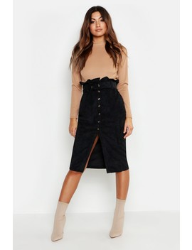 Cord Paperbag Button Midi Skirt by Boohoo