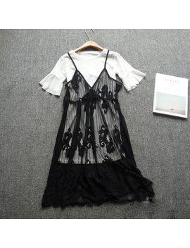 Summer Harajuku Mori Girl Dress Women Sleeveless Sweet Black White Lace Layer Embroidery Hollow Out Spaghetti Strap Dresses U523 by Mori Alice