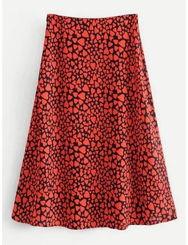 Heart Print Skirt by Shein