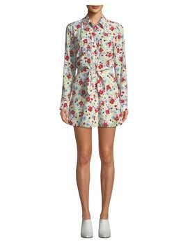 Quince Floral Print Tie Front Shirt Dress by Veronica Beard