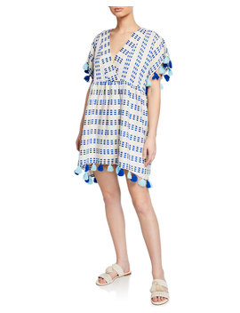 Luna Woven V Neck Caftan Dress W/ Tassels by Tessora