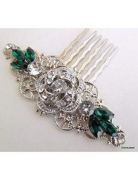 Swarovski Crystal Bridal Hair Comb Wedding Hair Accessories Vintage Style Green Hair Comb Flower And Leaf Rhinestone Hair Comb Roselani by Etsy