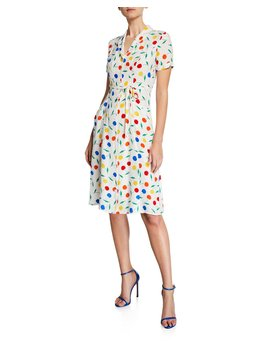 Maria Cherry Print Button Down Midi Dress by Hvn