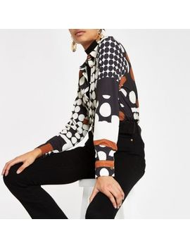 Cream Spot Print Long Sleeve Shirt by River Island