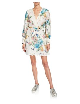Scalloped Linen Floral Long Sleeve Short Dress by Zimmermann