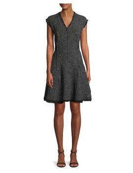 Sleeveless V Neck Sparkle Tweed Fit And Flare Dress by Rebecca Taylor