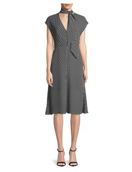 Gabby Polka Dot Silk Tie Neck Dress by Neiman Marcus