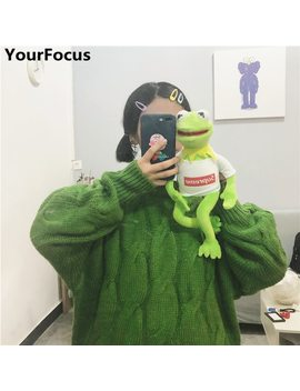 Harajuku Vintage Ins Hot Korean Style Winter Warm Kawaii Cute Green Solid Women Sweaters Yq 927 by Your Focus