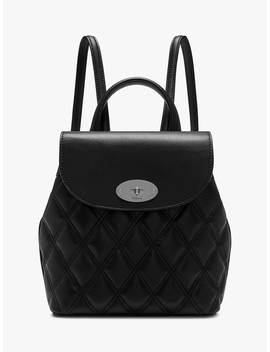 Mulberry Mini Bayswater Quilted Smooth Calf's Leather Backpack, Black/Silver by Mulberry