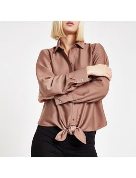 Copper Tie Front Shirt by River Island