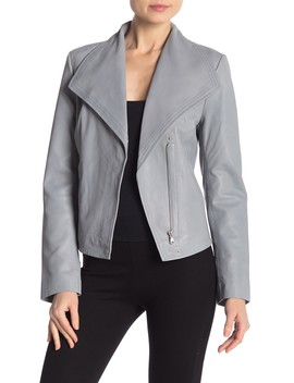 Envelope Collar Lamb Leather Jacket by Badgley Mischka
