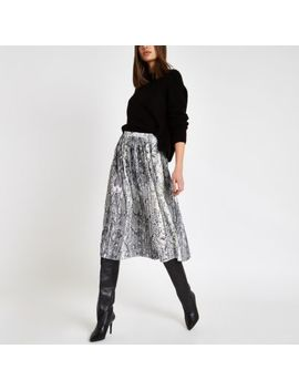 Grey Snake Print Pleated Midi Skirt by River Island