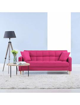 Modern Linen Fabric Tufted Small Space Living Room Sofa Couch (Hot Pink) by Divano Roma Furniture
