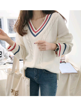 Autumn Winter Fashion College Sweet Wind Sweater Female Loose Casual V Neck Simple Wild Color Matching Stripes Bottoming Sweater by Haoduoyi