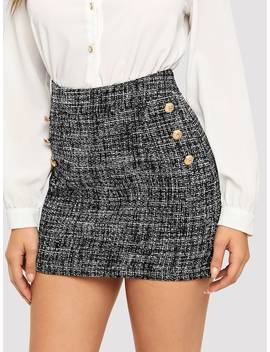 Button Detail Frayed Edge Tweed Skirt by Shein