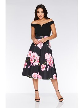 Black And Pink Bardot Floral Dress by Quiz