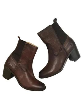 Brown Janis Gore Short Leather Boots/Booties by Frye