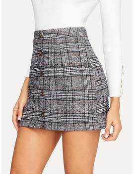 Button Up Plaid Skirt by Shein
