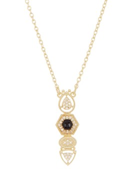 14 K Gold Plated Sterling Silver Rivoli Vertical Pendant Necklace by Judith Ripka