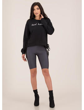 Bad Habits Side Tied Sweatshirt by Go Jane