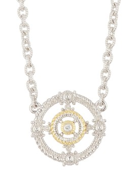 Two Tone La Petite Circle Station Necklace by Judith Ripka