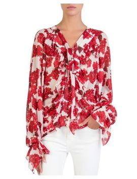 Silk Hortensia Print Blouse by The Kooples