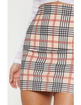 Stone Check Print Mini Skirt  by Prettylittlething