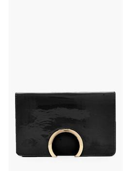 Metal Circle Patent And Pu Mix Clutch by Boohoo