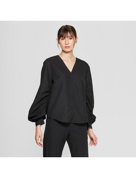 Women's Long Blouson Sleeve V Neck Blouse   Prologue™ Black by Prologue