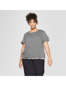 Women's Plus Size Short Sleeve Boxy Tweed Blouse   Who What Wear™ Black/Cream by Who What Wear