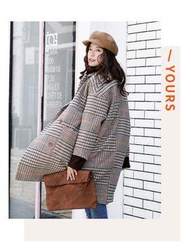 Korean Style Drop Shoulder Loose 2018 Women Cocoon Type Spring Autumn Women Plaid Woolen Coat Overcoat Gray/Black by Hanorange
