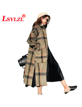 Classic Plaid Trench New Fashion 2018 Oversized Winter Autumn Women Casual Coat Female Windbreaker England Style Thicken B602  by Lsylzl