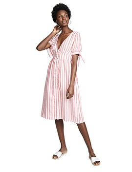 Striped Midi Dress With Tie by English Factory
