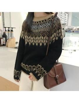 New Autumn And Winter 2018  Casual Long Sleeve Diamond Sweater Women Loose Wheat Vintage Sweter Women by Inbox