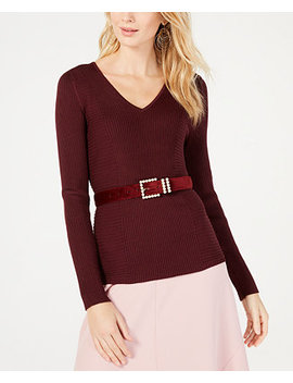 I.N.C. Ribbed V Neck Sweater, Created For Macy's by Inc International Concepts