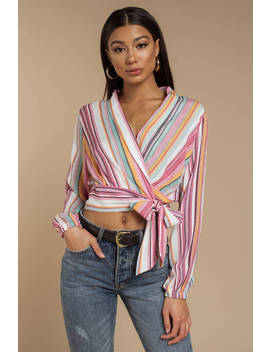 Maybe Someday Multi Stripe Blouse by Tobi
