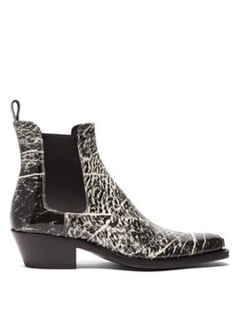 Chris Western Grain Print Leather Boots by Calvin Klein 205 W39 Nyc