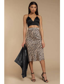 Keep Inside Multi Zebra Print Midi Skirt by Tobi