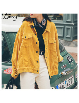 Ellacey New Stylish 2019 Bomber Jacket With Pockets Cotton Corduroy Jacket Women Basic Coats Stylish Slim Fit Fashion Outerwear by Ellacey