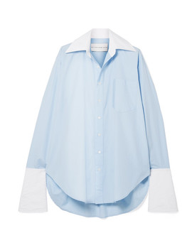 Oversized Two Tone Cotton Poplin Shirt by Matthew Adams Dolan