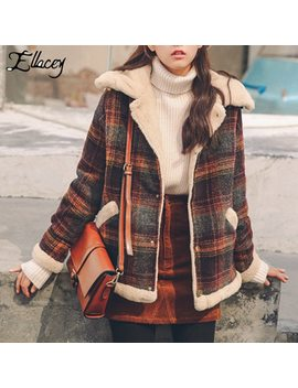 Ellacey New 2018 Winter Plus Velvet Thick Jacket Women Vintage Retro Woolen Coat Plaid Lamb Fur Collar Harajuku Female Jacket by Ellacey
