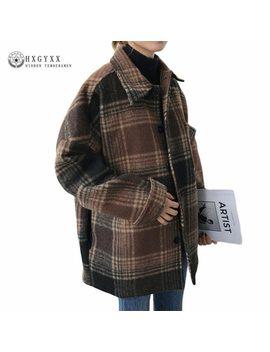 Women Autumn Cape Coat Winter Jacket Short Plaid Wool Coat 2018 Vintage Mujer Female Overcoat Casaco Feminino Outwear Sokd254 by Hygyxx