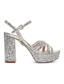 Silver Glitter Sandals by Miu Miu