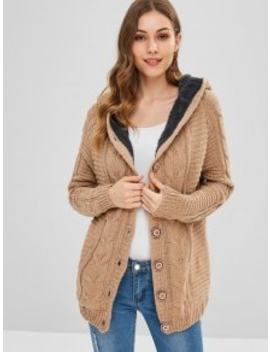 Fleece Lined Cable Knit Fisherman Cardigan   Camel Brown by Zaful