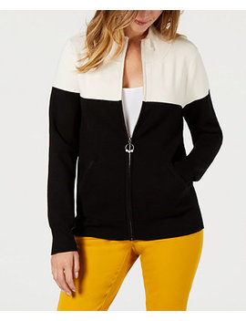 Colorblocked Zip Up Sweater, Created For Macy's by Charter Club