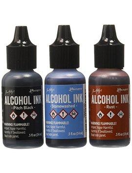 Ranger Adirondack Alcohol Ink 1/2 Ounce 3/Pkg, Miners Lantern, Rust/Stonewash/Pitch Blk (Aai 20721) by Ranger