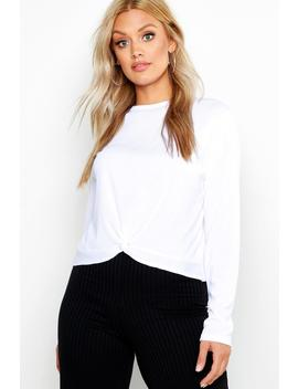 Plus Ribbed Twist Front T Shirt by Boohoo