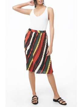 Multicolor Pleated Midi Skirt by Forever 21
