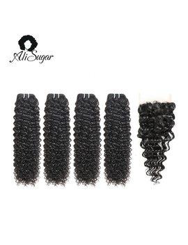 Ali Sugar Hair Cambodian Kinky Curly Virgin Hair Bundles With Closure 100 Percents Unprocessed Human Hair Natural Color Free Shipping by Ali Sugar